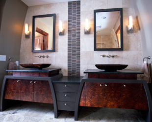 Award-Winning eclectic master bath remodel