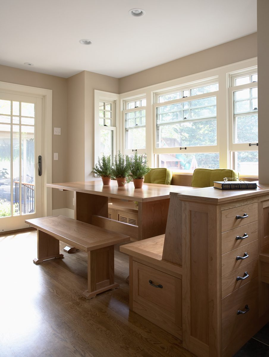 <p>As a part of the new 3-story addition, this light-filled, custom cherry breakfast nook sits just off the kitchen, providing a warm, cheery spot to start the day.</p> <p>&nbsp;</p> <p>&nbsp;</p>