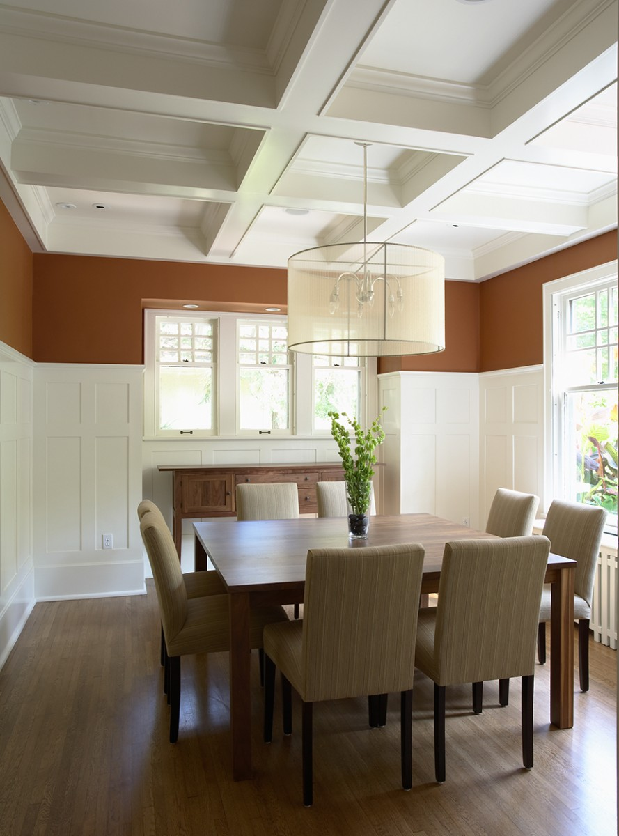 <p>With its white wainscoting, beamed ceiling, and adjacent butler's pantry for food &amp; beverage storage and drink preparation, this dining room is the perfect setting for entertaining.</p>