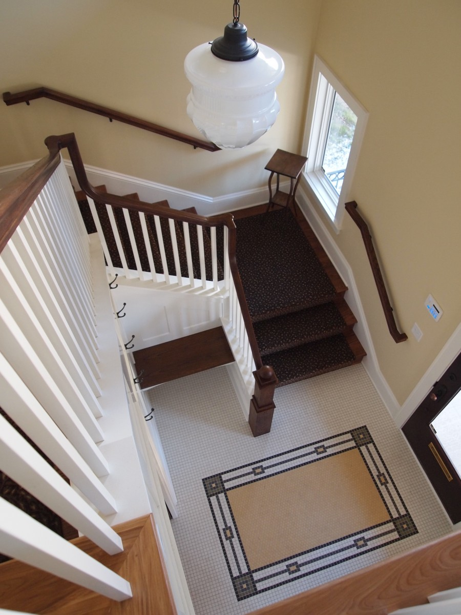 <p>A look at the entry and staircase from above.</p>