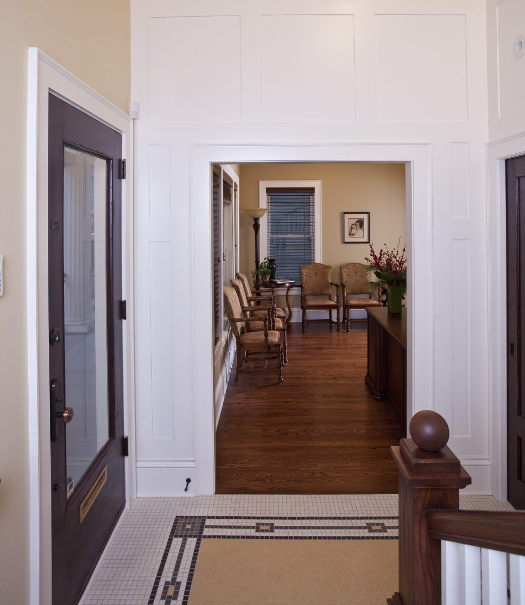 <p>The new entry leads to a reception area where the first floor living room used to be.</p>