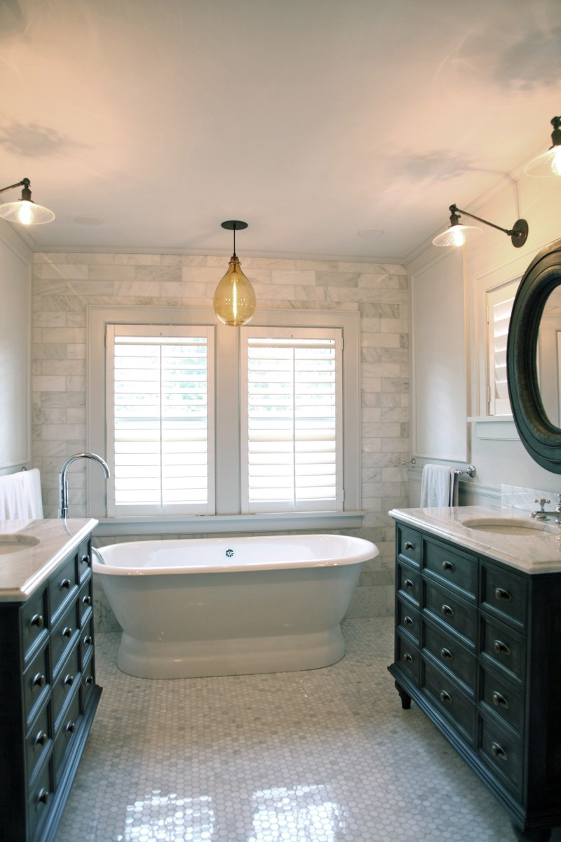 <p>The master bathroom was remodeled with two generous vanities and a larger shower.</p>