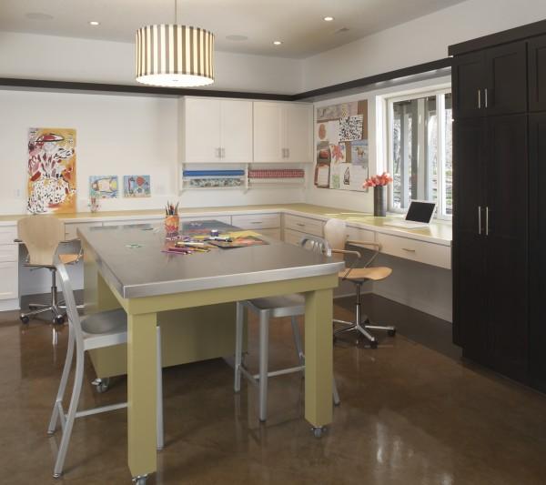 Craft room in child-friendly basement remodel medina mn