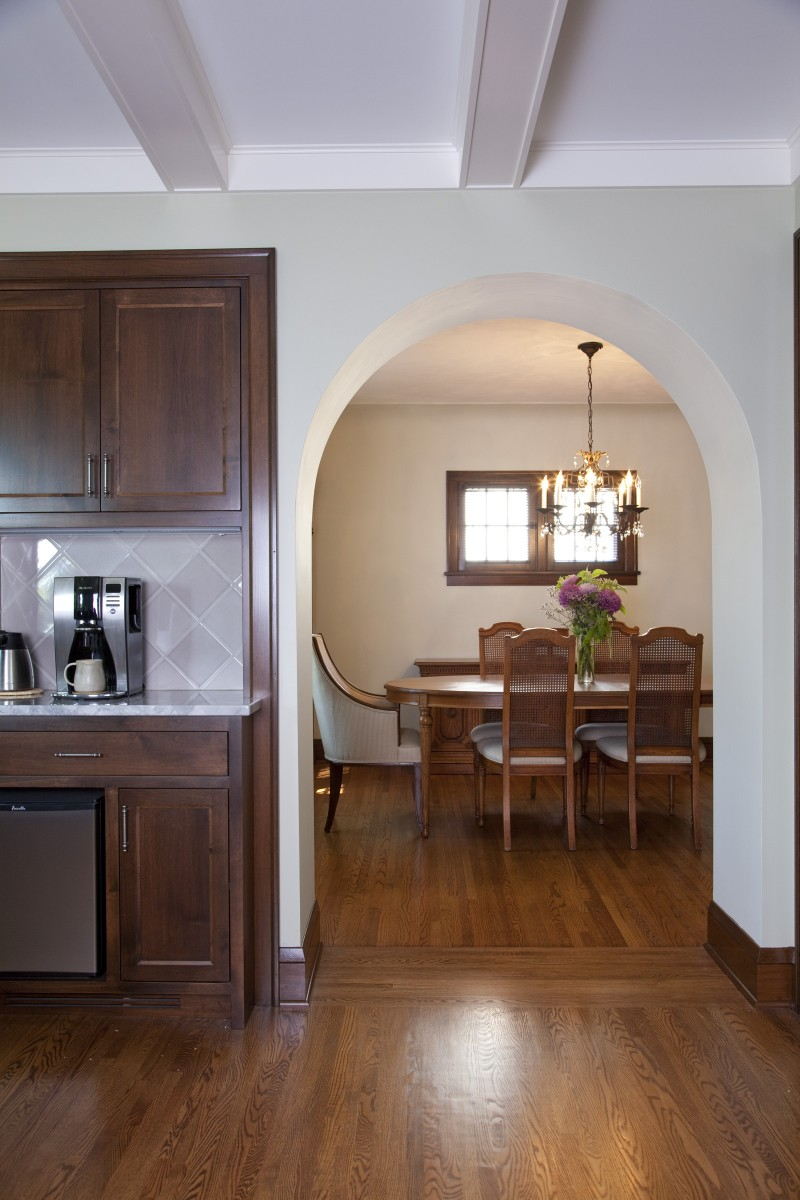 Here's a look at the coffee station and connection to the dining room.  The coffee station offers a place for the owners to prepare their beverages and store accessories within easy reach of the dinette and the rest of the kitchen.
