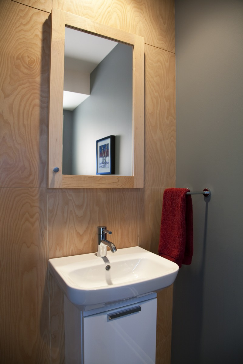<p>This powder room was added as a part of the first floor remodel.  It features a small, modern sink and a maple accent wall.</p>