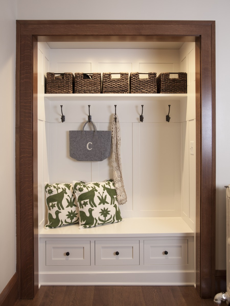 The front entry closet was given a stylish makeover – now it's a welcoming, functional nook with lots of personality.