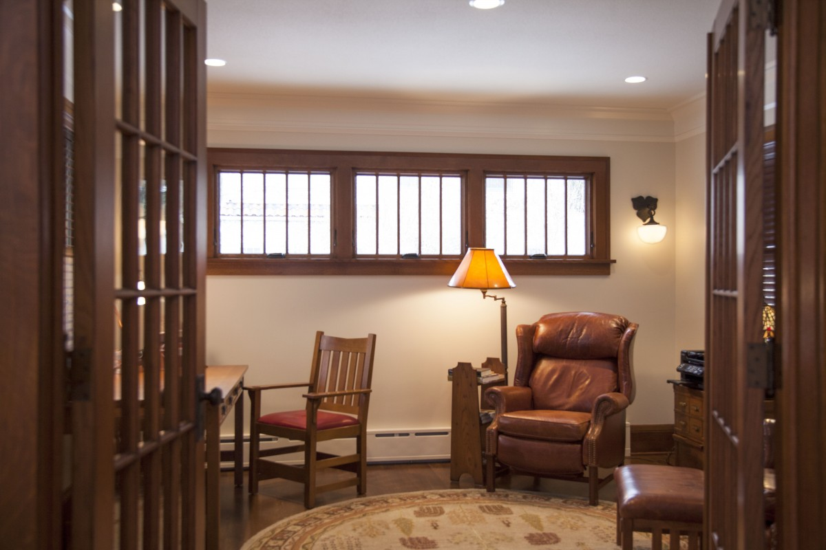 <p>Before, the tiny room off the living room lacked purpose. Now, the addition holds a comfortably-sized study.</p>