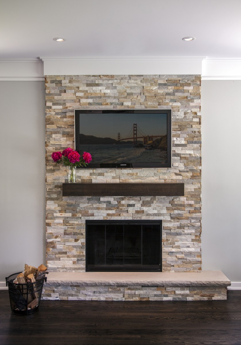 Quartzite ledgestone panels were used to restore this outdated fireplace. It brings warmth and texture to thenewly renovatedliving space.