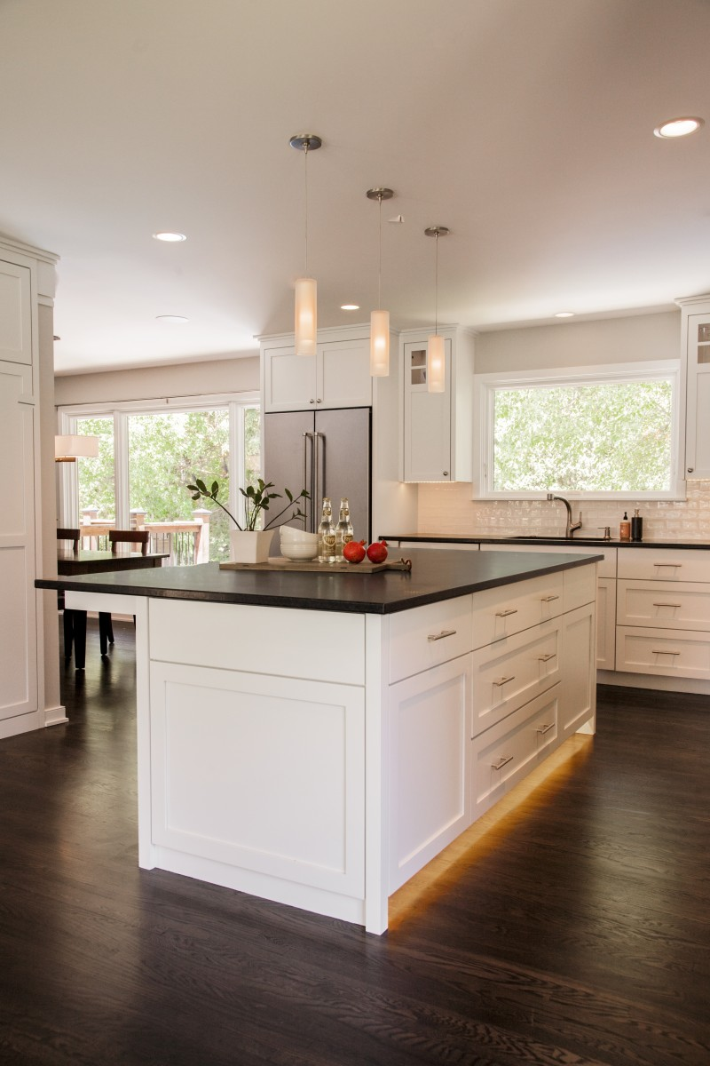 Under-cabinet lighting on the island was important to the homeowner. This unique feature makes walking to the fridge for a midnight snack that much easier!