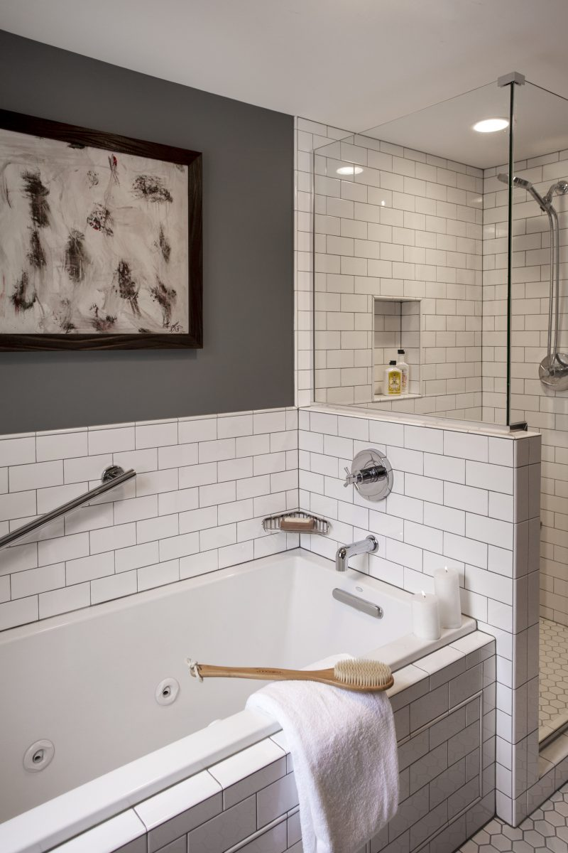 Fixtures were flipped within the room, creating more space and minimizing compartmentalization.