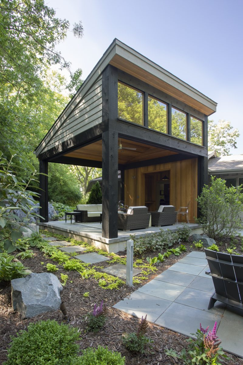 <p>Motorized retractable screens are installed providing a combination of solar shading and protection from the pesky Minnesota insects.</p>
